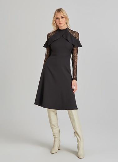 People By Fabrika Kolları Dantelli Elbise Siyah